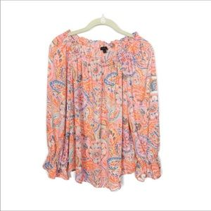 Talbots Long Sleeve Paisley Print Top Sz M